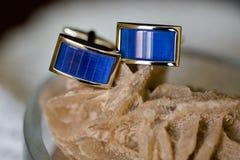 Beautiful Groom`s wedding jewellery detail Stock Photo