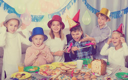 Beautiful group children having party friend's birthday Royalty Free Stock Photos