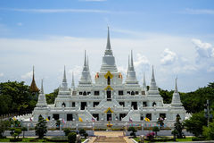 Beautiful group of white pagoda, Thutangkachedi, stupa with multiple spires of Wat Asokaram on sunny day Royalty Free Stock Image