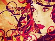 Beautiful grunge autumn girl. Grunge art colorful illustration of woman face with autumn floral royalty free illustration