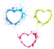 Beautiful grunge multicolored hearts Stock Photos