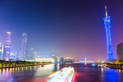 Beautiful guangzhou pearl river at night Stock Photography