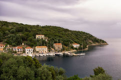 The beautiful gulf of Kioni, Ithaca island, Greece Royalty Free Stock Images