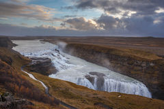 Beautiful Gullfoss. Stunning Gullfoss waterfall along the golden circle route in Iceland Stock Photography