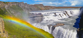 Beautiful Gullfoss waterfall  and rainbow on a sunny day Royalty Free Stock Photos