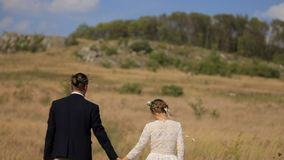 Beautiful guy and girl are walking along the field for a day`s sake against the backdrop of a picturesque rural. Landscape. Wedding beautiful young couple stock footage
