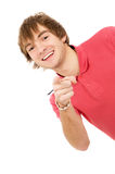 Beautiful guy Peeps and points to you Stock Images