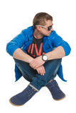 Beautiful guy in sunglasses and jacket Stock Images