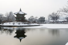 Beautiful gyeongbok palace in soul, south korea - under snow, winter Royalty Free Stock Images