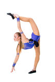 Beautiful gymnast athlete teenage girl wearing dancer blue leotard working out, dancing, doing exercise. isolated Royalty Free Stock Photography