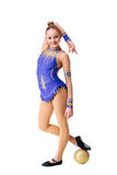 Beautiful gymnast athlete teenage girl wearing dancer blue leotard working out, doing exercise with ball. isolated Stock Images