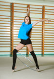 Beautiful gymnast with the hoop Royalty Free Stock Images