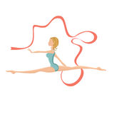 Beautiful gymnastic girl performing with ribbon Stock Image