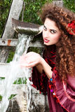 Beautiful gypsy girl in red dress Royalty Free Stock Photography