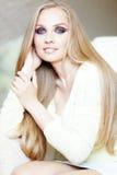 Beautiful hair. Portrait of beautiful woman with amazing shining blond hair Stock Image
