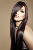 Beautiful hair. Portrait of young beautiful woman with long glossy hair Stock Photos