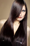 Beautiful hair. Portrait of young beautiful woman with long glossy hair Royalty Free Stock Photography