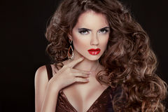 Beautiful hair, Fashion Woman Portrait. Beauty Model Girl with l Stock Photo
