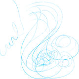 Beautiful Hair Illustration. Line art drawing of an abstract face and hair. Hair spells out the word CURLY Royalty Free Stock Images