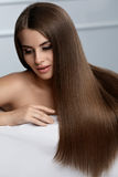 Beautiful Hair. Woman Model With Glossy Straight Long Hair. Stock Images