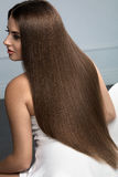 Beautiful Hair. Woman Model With Glossy Straight Long Hair Stock Photo
