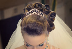 Beautiful hairdress for the bride Royalty Free Stock Photography