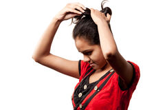Beautiful hairstyle of Indian girl Stock Image