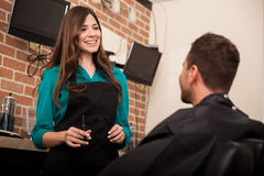 Beautiful hairstylist at work royalty free stock photos