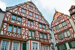 Beautiful half timbered fachwerk house. Beautiful half timbered fasade of fachwerk house in Germany on a sunny day royalty free stock photography