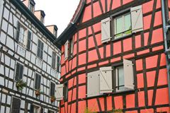 Beautiful half timbered fachwerk house. In France, Strasbourg, Alcase. beautiful travel destination royalty free stock image