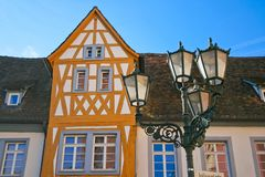 Beautiful half timbered fachwerk house. In Germany on a sunny day. Beautiful travel destination stock photo