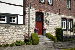 Beautiful half-timbered house in mixed technology in South Limburg stock images