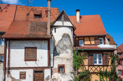 Beautiful half-timbered houses with red tiled roofs in Selestat Stock Images