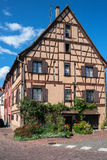 Beautiful half-timbered houses with red tiled roofs in Selestat Stock Photography