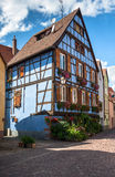 Beautiful half-timbered houses with red tiled roofs in Selestat Royalty Free Stock Photo