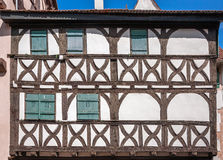 Beautiful half-timbered houses with red tiled roofs in Selestat Royalty Free Stock Images