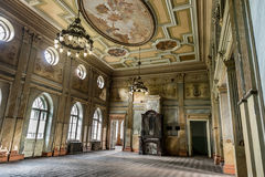 Beautiful hall in Sharovsky Castle with painting on the ceiling. And chandeliers, Kharkiv region stock photography