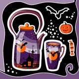 Beautiful Halloween card with teapot, cup, bat, pumpkin, candy Stock Image