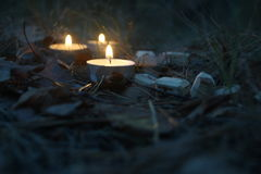 Beautiful halloween composition with runes and candles on the grass in dark autumn forest. Ritual Stock Image
