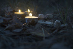 Beautiful halloween composition with runes and candles on the grass in dark autumn forest. Ritual Stock Photo