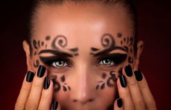 Beautiful Halloween makeup Stock Images