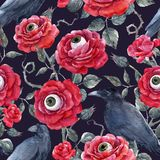 Watercolor floral halloween vector pattern Royalty Free Stock Image