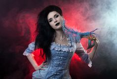 Beautiful Halloween vampire woman aristocrat. Over black-red background Stock Photography