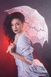 Beautiful Halloween vampire woman aristocrat with lace-parasol Royalty Free Stock Photography