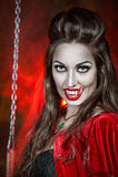 Beautiful halloween vampire woman royalty free stock image