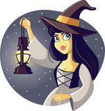 Beautiful Halloween Witch Holding Lantern Illustration Royalty Free Stock Photography