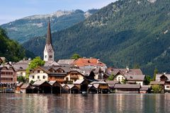 Beautiful Hallstatt in Austria. Hallstatt See (lake district) Austria. Hallstatt village is UNESCO World Heritage Site for Cultural Heritage Stock Photos