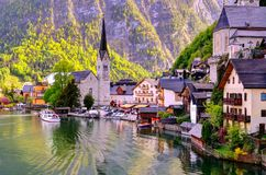 Beautiful Hallstatt Town in Austria. Beautiful tourist town in Austria, view on lake and village royalty free stock photo