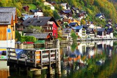 The beautiful Hallstatt village on the coast of Hallstatt lake. royalty free stock images