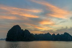 Beautiful Halong Bay sunrise view. From the cruise in Vietnam Royalty Free Stock Photo